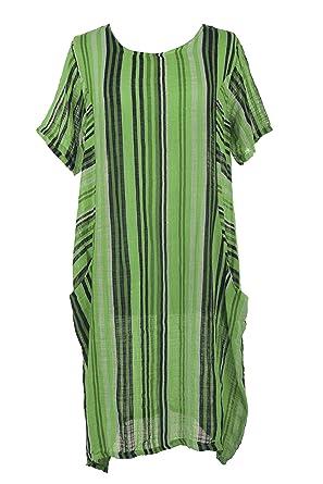 29fafd360c TEXTURE Ladies Women Italian Lagenlook Short Sleeves Stripe 2 Pocket  Cheesecloth Midi Dress One Size (Lime Green