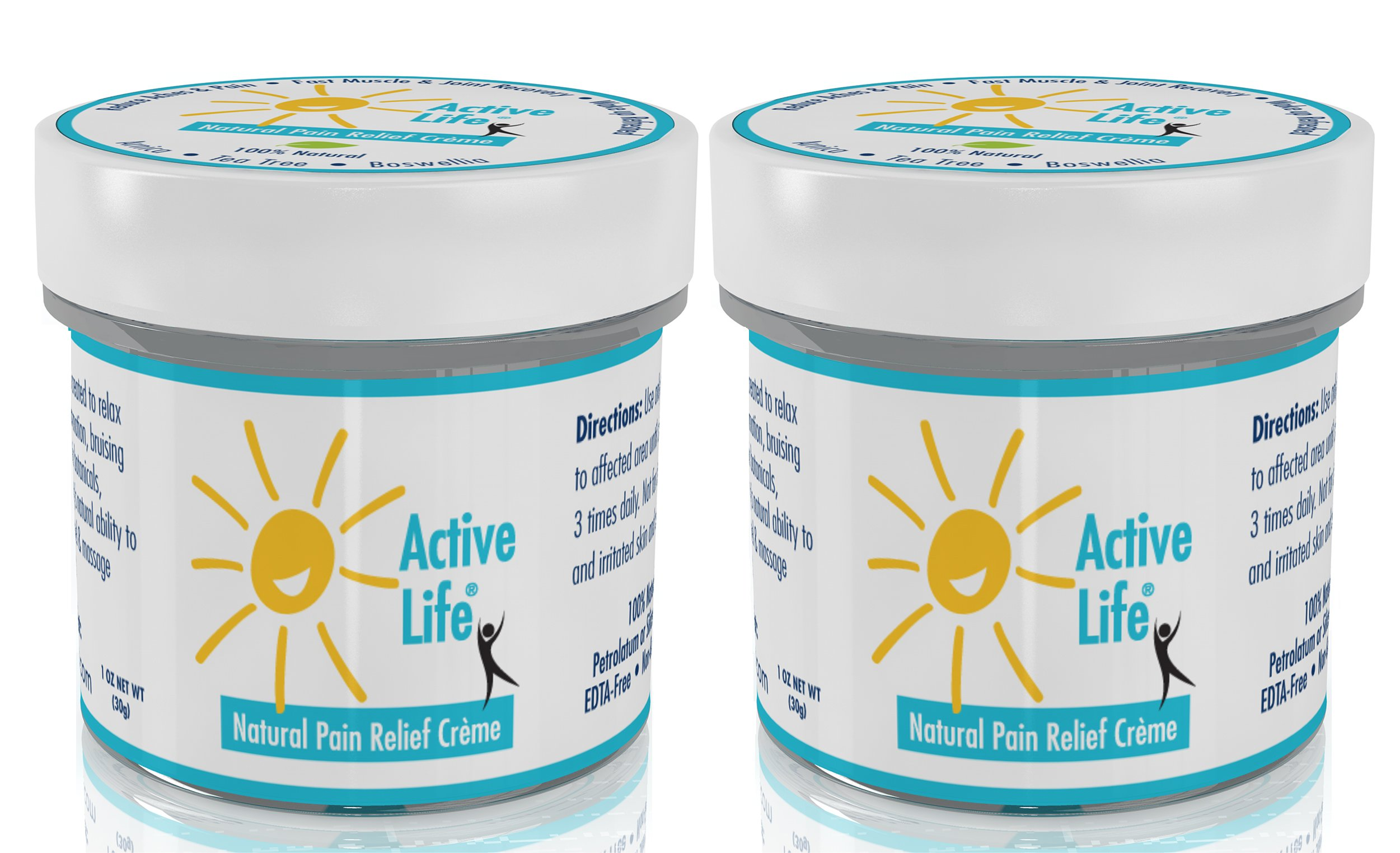 Active Life Natural Pain Relief Cream. 1 oz Travel Size (2 Pack). All Natural Relief for Joint Pain, Muscle Soreness and Skin Irritations. Perfect Stocking Stuffers or Small Gifts for the Holidays.