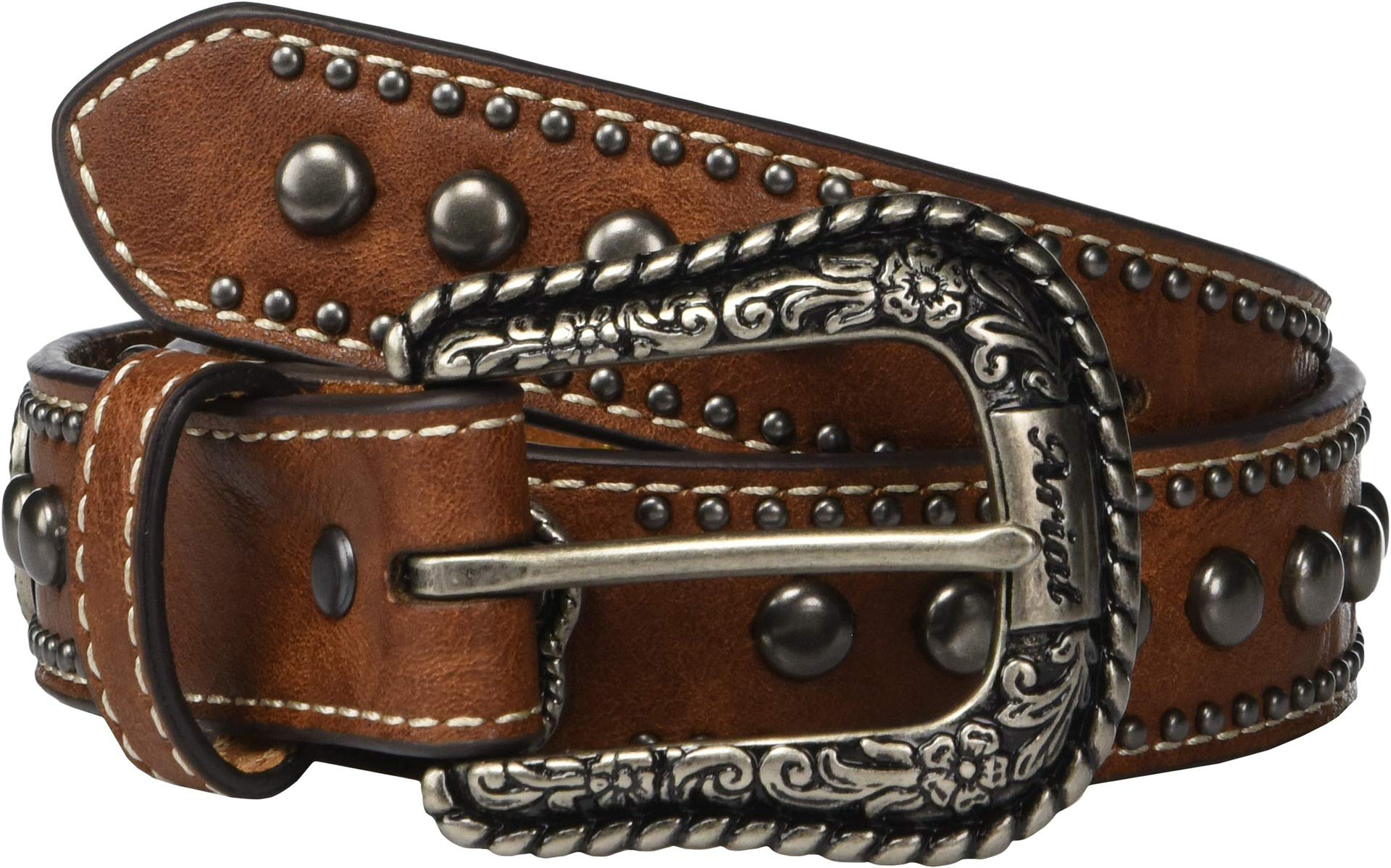 Ariat Girl's Embossed Belt w/Heart Conchos (Little Kids/Big Kids) Brown 24'' Waist