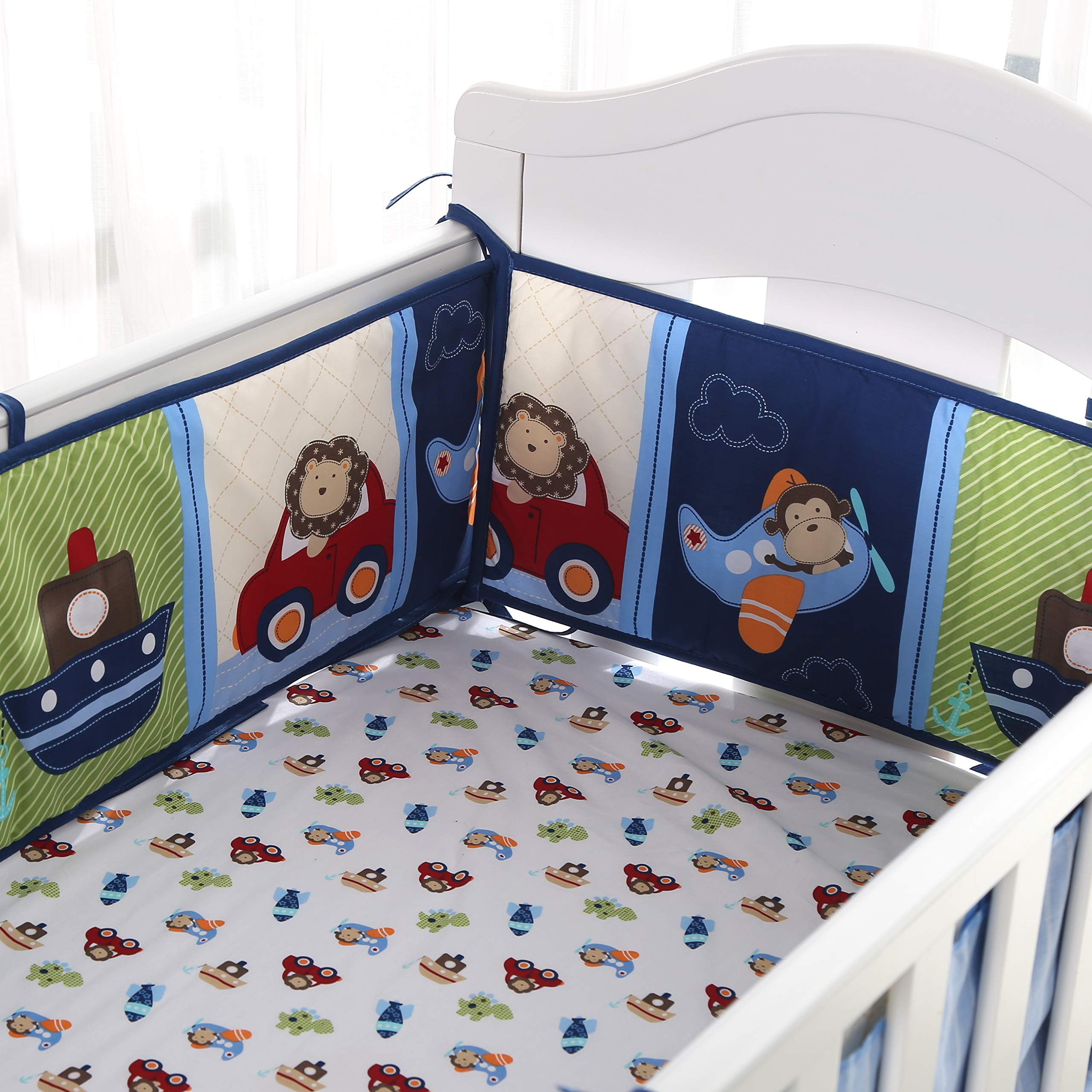 Wowelife Blue Crib Bedding Sets for Boys 7 Piece Travel Car and Airplane for Baby(Little Pilot) by Wowelife (Image #3)