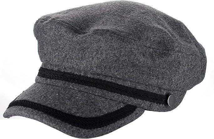D/&Y Wool Blend Ribbon Trim Hat Adjustable Stretch Greek Fisherman Cap Hat