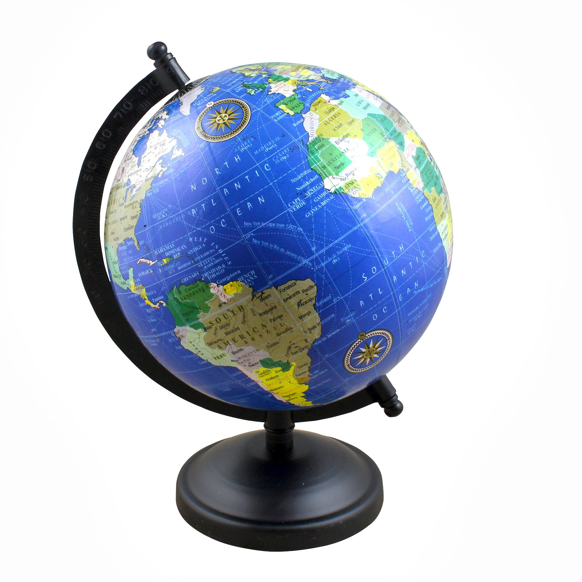 Desktop World Globe Geographical Map Spinning with Stand, 9 Inches - Perfect Gift for Home Office Desk Decoration - Stock Clearance Sale!!