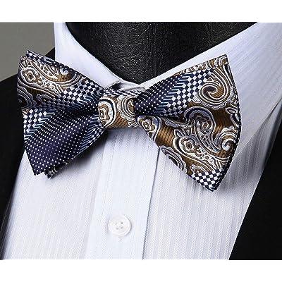 Men/'s Blue Paisley Classic Bowtie Self Tie Accessories