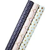 Hallmark Reversible Wrapping Paper, Kraft Gold Tri-Pack Metallic Pattern