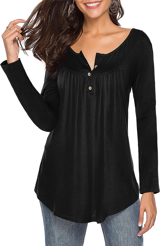 ZJCTUO Langarmshirts Damen Oberteile Schwarz Tshirt Bluse V-Ausschnitt Casual Tunika Frauen Damenhemden Tops mit Knöpfen: Amazon.de: Bekleidung - Tunika Damen