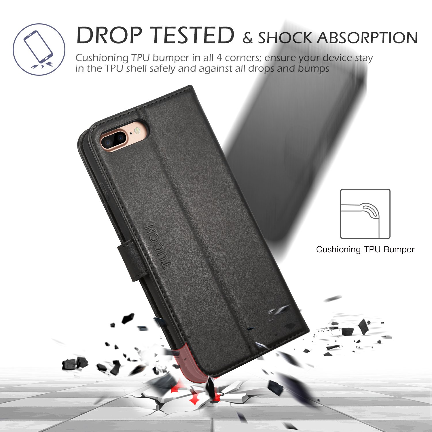 iPhone 8 Plus Wallet Case, iPhone 7 Plus Case, TUCCH Premium PU Leather Flip Folio Case with Card Slot, Cash Clip, Stand Holder and Magnetic Closure [TPU Shockproof Interior Protective Case], Black by TUCCH (Image #8)
