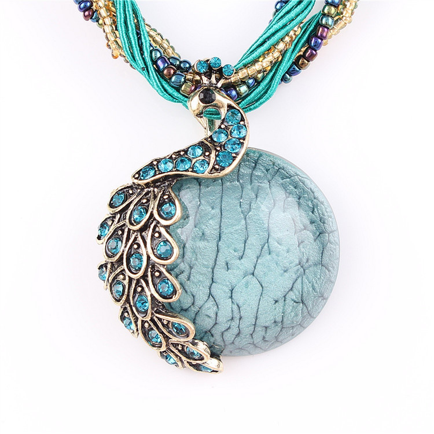 Beancan Blue Natural Crystal Stone Pendant Necklace Peacock Pendant Necklace for Women Jewelry