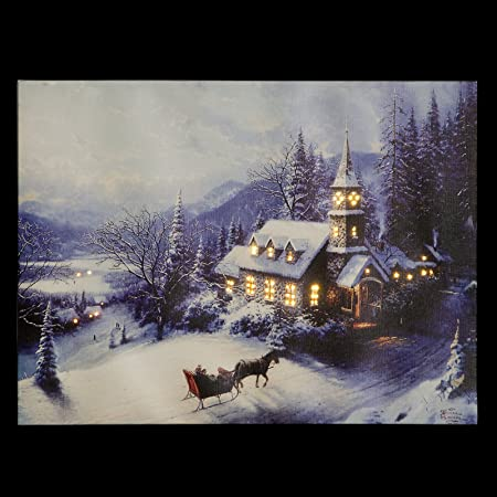 Christmas Led Canvas.Stunning Fibre Optic Light Up Led Canvas Picture Christmas Snowy Church Scene 40x30cm