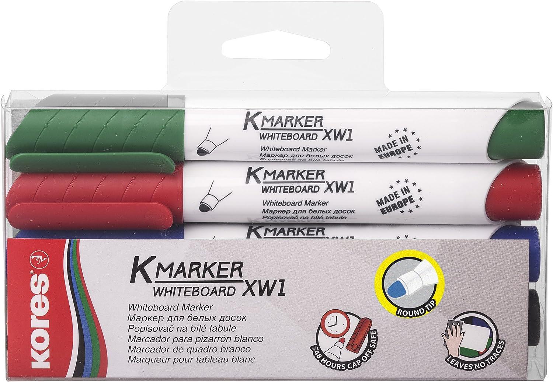Kores Pennarello per lavagna magnetica colore nero punta rotonda: 3 mm 12 pezzi