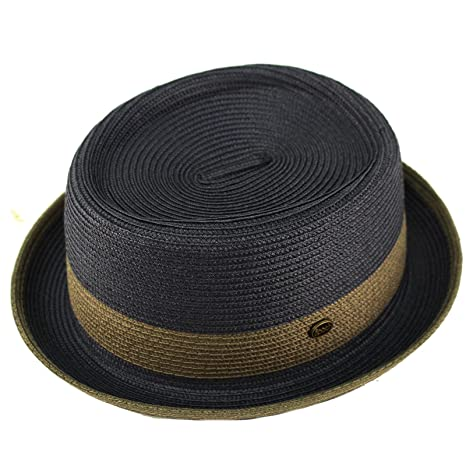 84b2109feaa64 Epoch Men s Everyday 2tone Light Summer Porkpie Boater Derby Fedora Sun Hat  at Amazon Men s Clothing store