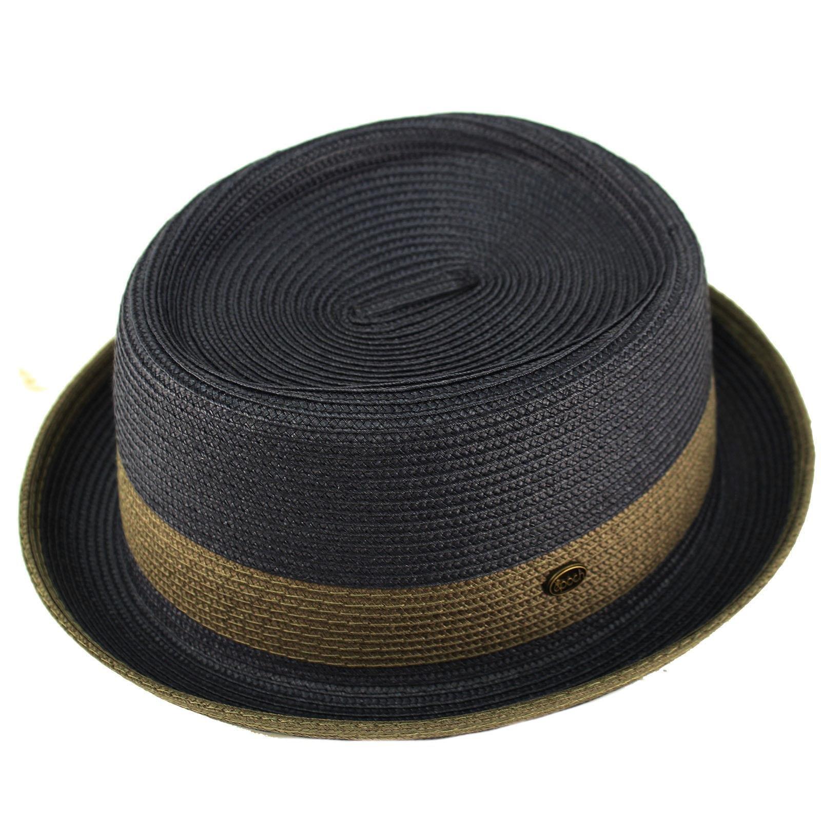 Epoch Men's Everyday 2tone Light Summer Porkpie Boater Derby Fedora Sun Hat S/M