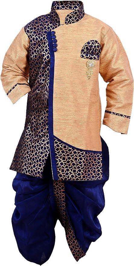 Arshia Fashions Boys Dhoti Kurta set ethnic wear for boys - Blue Boys' Sherwanis at amazon