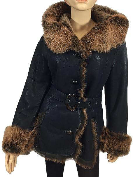 Dudex de la mujer Suede Piel De Oveja Chaqueta De Piel De Cordero funda invierno abrigo de piel Black Brown large: Amazon.es: Ropa y accesorios