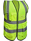 Misslo 5 Pockets High Visibility Zipper Front Breathable Safety Vest with Reflective Strips, Neon Yellow (Small)
