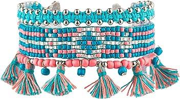 "SIX ""Sommer Damen Armschmuck, Armband, mehrreihig, Textil-Quasten, Tassel, türkis, rosa, Silber (460-938)"