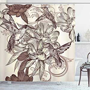 Ambesonne Hummingbirds Shower Curtain, Pattern with Birds and Flowers Classic Style Ornamental Design Floral Print, Cloth Fabric Bathroom Decor Set with Hooks, 75
