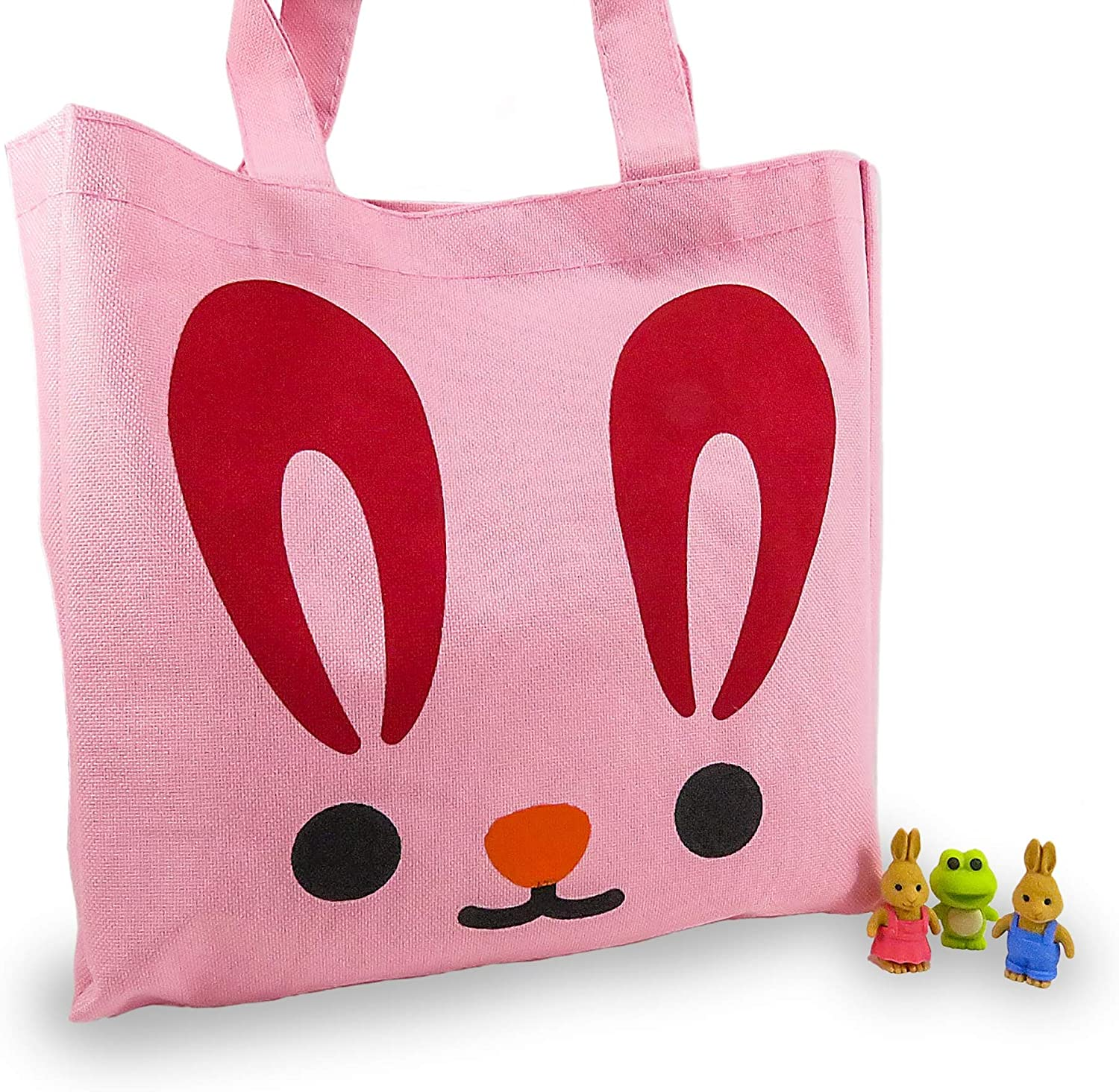 Mixed Rabbit Tote Bag Purse for Girls 10.75 x 10.5 Inches Pink and 3 Mini Puzzle Erasers Rabbits and Frog - Cute Animals Are Actually Erasers (4 Piece Set)
