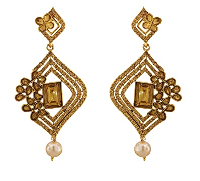 3eb088565 Buy Designer Gold Plated Fancy Party Wear Earrings for Women & Girls EAR25  Online at Low Prices in India   Amazon Jewellery Store - Amazon.in