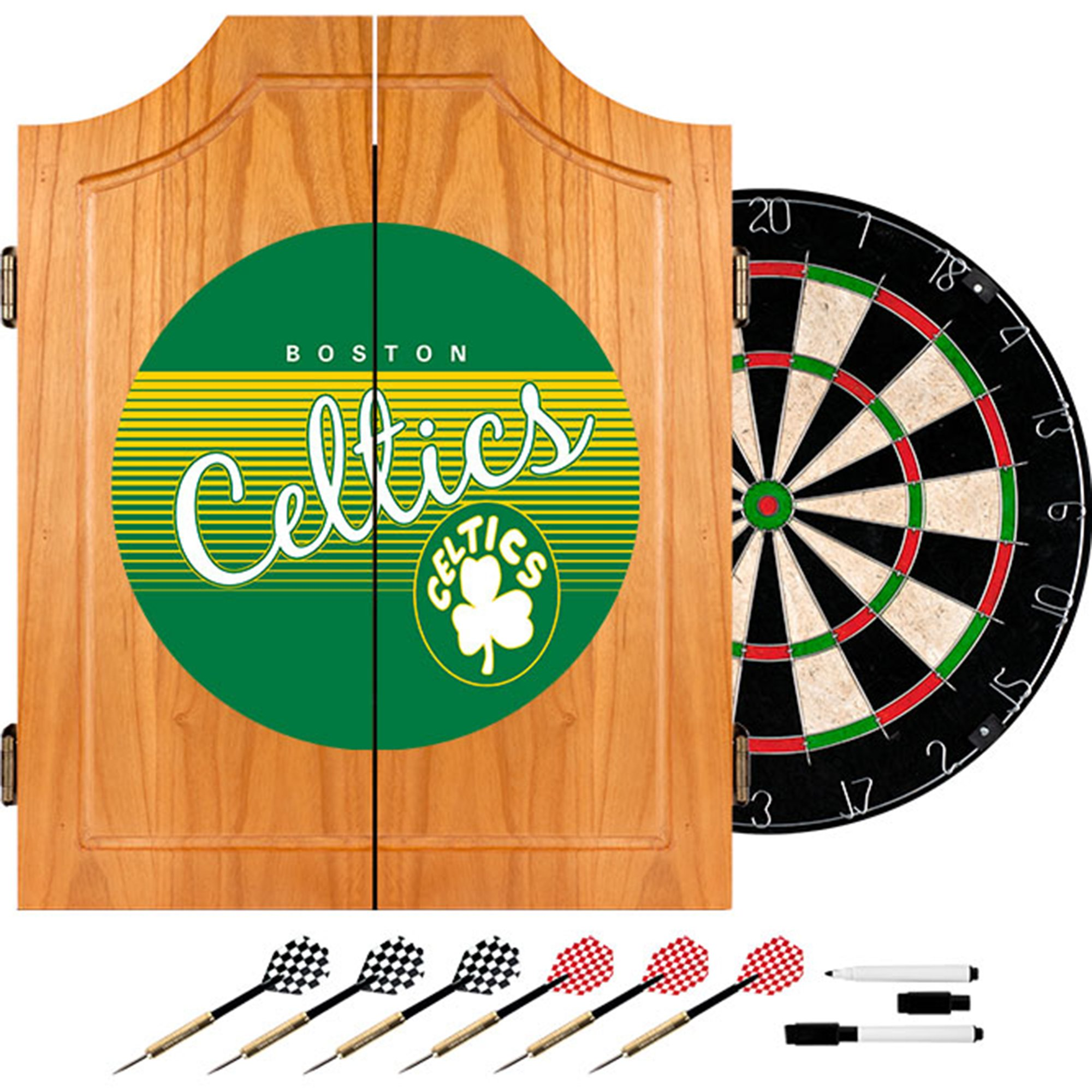 NBA Boston Celtics Wood Dart Cabinet Set, One Size, Brown by Trademark Global