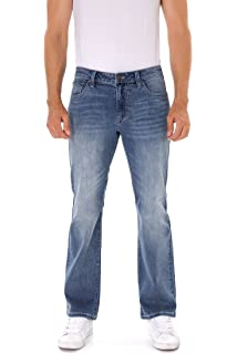 07bae9c8d73 Indigo Alpha Men's Stretch Extensible Boot Cut Fit Distressed Faded Denim  Jeans