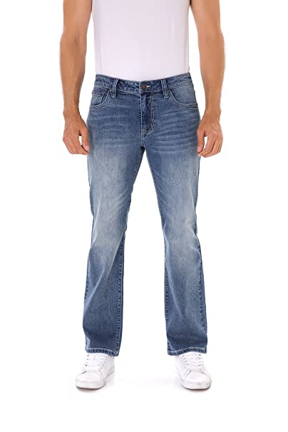 Indigo Alpha Mens Stretch Extensible Boot Cut Fit Distressed Faded Denim Jeans