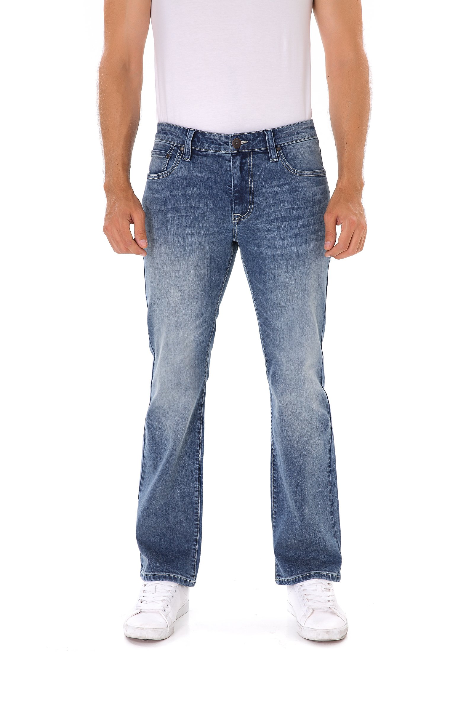 Indigo alpha Medium Blue Boot Cut Mens Jeans(8016,W34/L30)