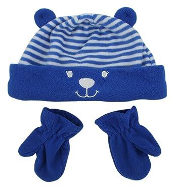 79bd047fe7b1 Rjm Kids Striped Bear Beanie With Ears   Mittens Set  Amazon.co.uk ...