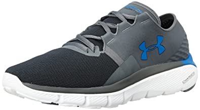 Under Armour Men's UA Speedform Fortis 2.1 Rhino Grey, White and Ultra Blue  Running Shoes