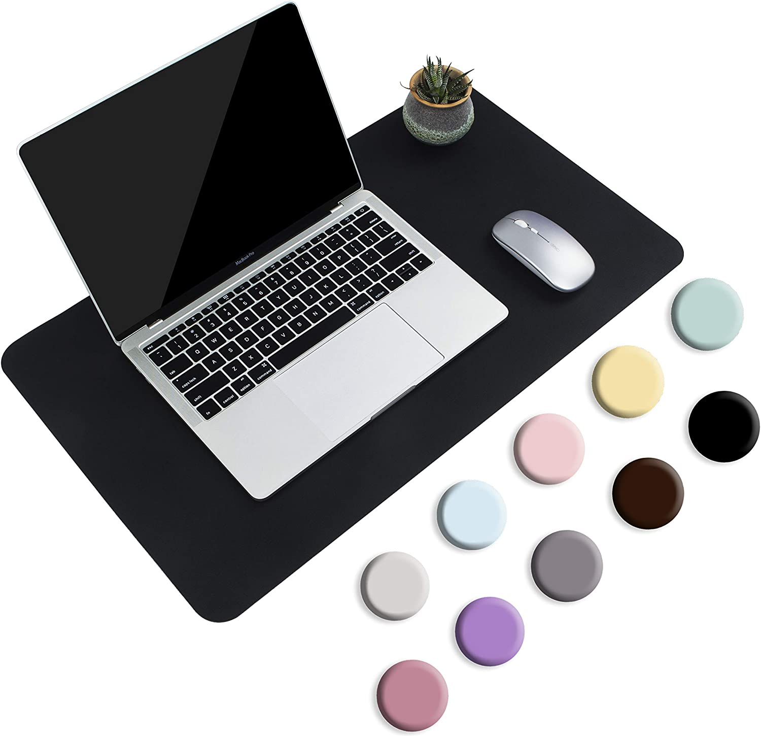 "Non-Slip Desk Pad, Waterproof PVC Leather Desk Table Protector, Ultra Thin Large Mouse Pad, Easy Clean Laptop Desk Writing Mat for Office Work/Home/Decor(Black, 23.6"" x 13.7"") : Office Products"