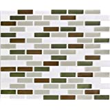 "Peel & Impress 11"" x 9.25"" Adhesive Vinyl Wall Tiles,Green Brown Oblong, 4 Pack"