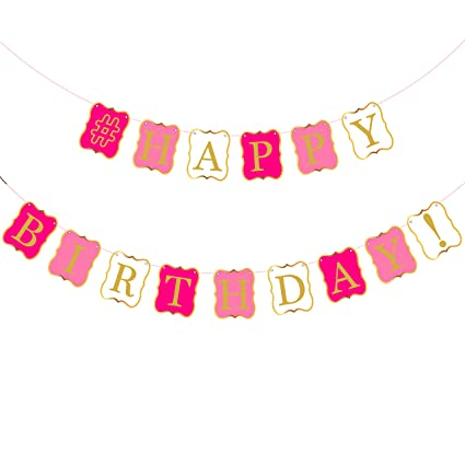 amazon com katchon pink happy birthday banner decorations pink