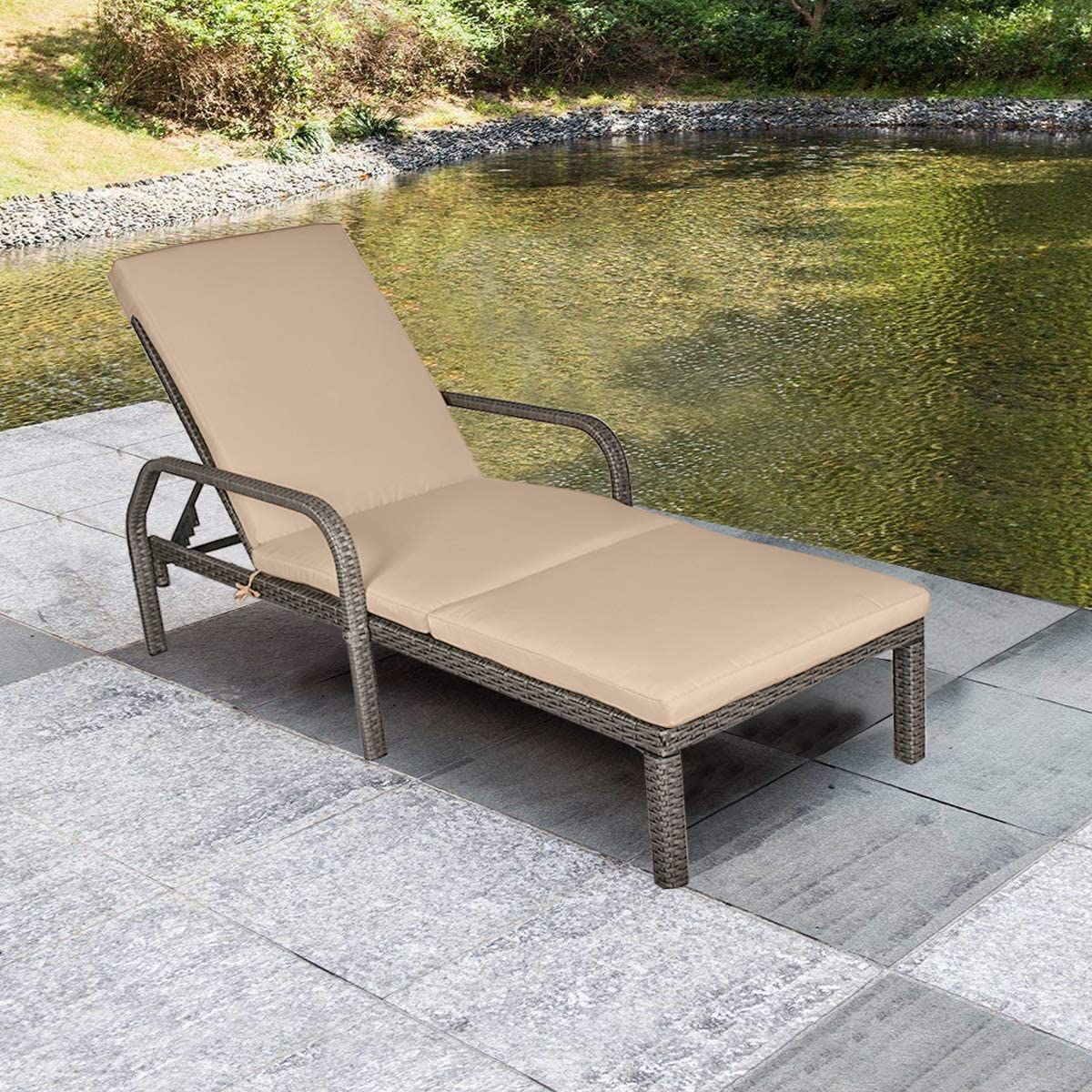 MAGIC UNION Patio Rattan Adjustable Wicker Chaise Lounge with Cushions Garden Furniture Outdoor Pool Side Chair