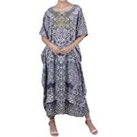 Miss Lavish London Kaftan Tunic One Size Beach Cover Up Maxi Dress Sleepwear Embellished Kimonos