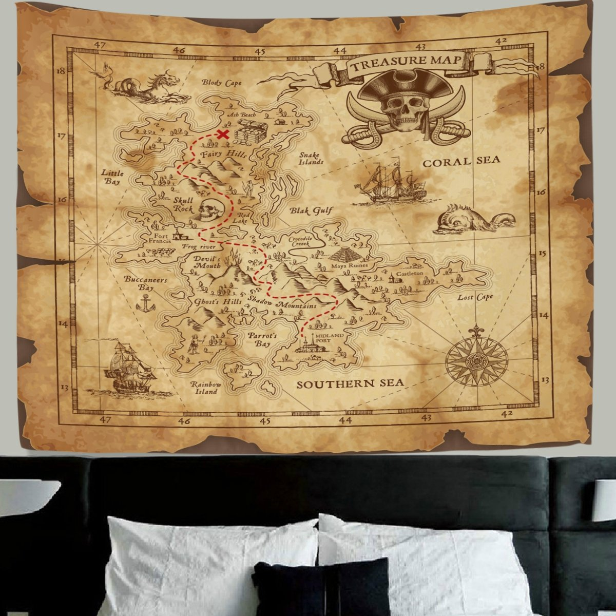 Amazon.com: HMWR World Map Tapestry Wall Hanging Retro Antique ...