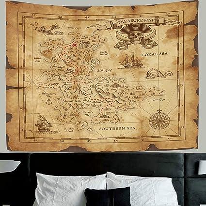 Antique World Map Tapestry.Amazon Com Hmwr World Map Tapestry Wall Hanging Retro Antique