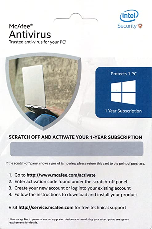 McAfee Anti-Virus - 1 PC, 1 Year (Activation Key Card)-Best-Popular-Product