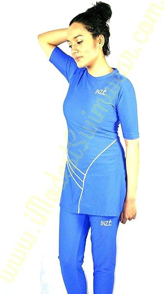 Vestido azul vestido de islámica modesto de baño vestido con gorro ...