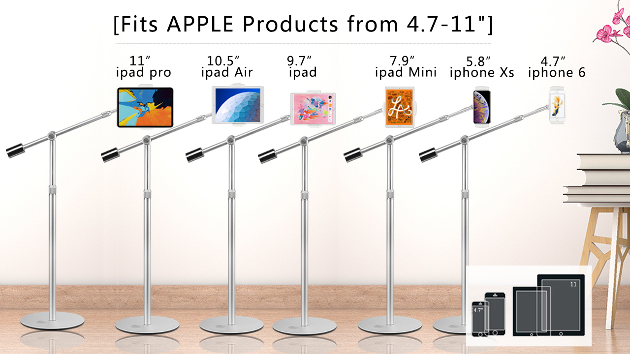 Suptek Aluminum Tablet Floor Stand 360° Flexible Height Adjustable Cell Phone Holder Mount for iPad, iPhone, Samsung, Asus and More 4.7-11 inch Devices, Good for Bed, Kitchen, Office