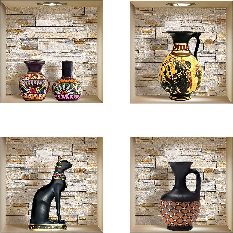 The Nisha DIY Pegatinas Etiquetas para Pared Desmontables de Vinilo 3D Arte Mágico, Conjunto de 4, Piedras jarras egipcias y africanas