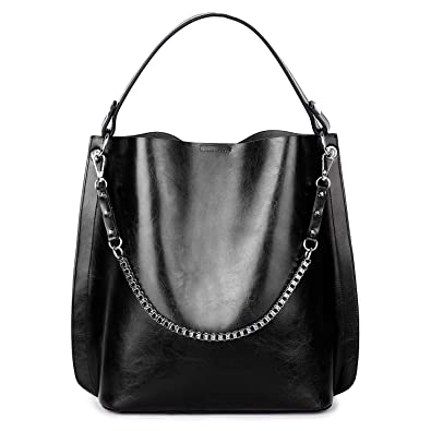 c6266b4409e7 Amazon.com  YALUXE Women soft Leather Thin Fahion Tote Hobo Style Shoulder  Bag with Metal Strap black  Shoes