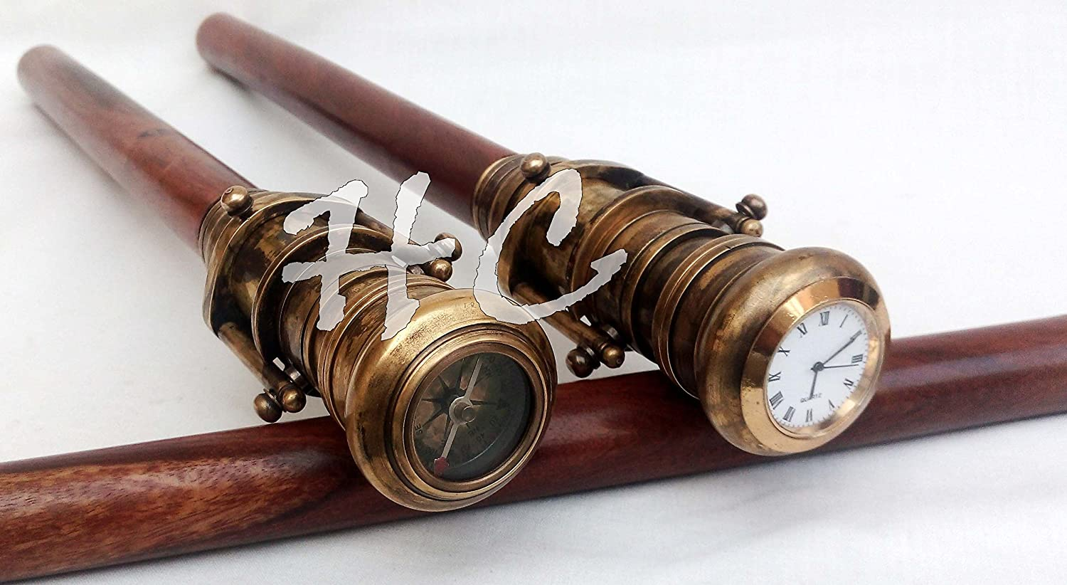 Wooden Walking Stick Cane W// Antique Finish Telescope Handle Compass On Top Gift