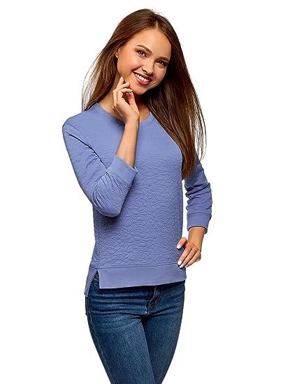 oodji Ultra Damen Sweatshirt aus Strukturiertem Stoff mit 34 Arm