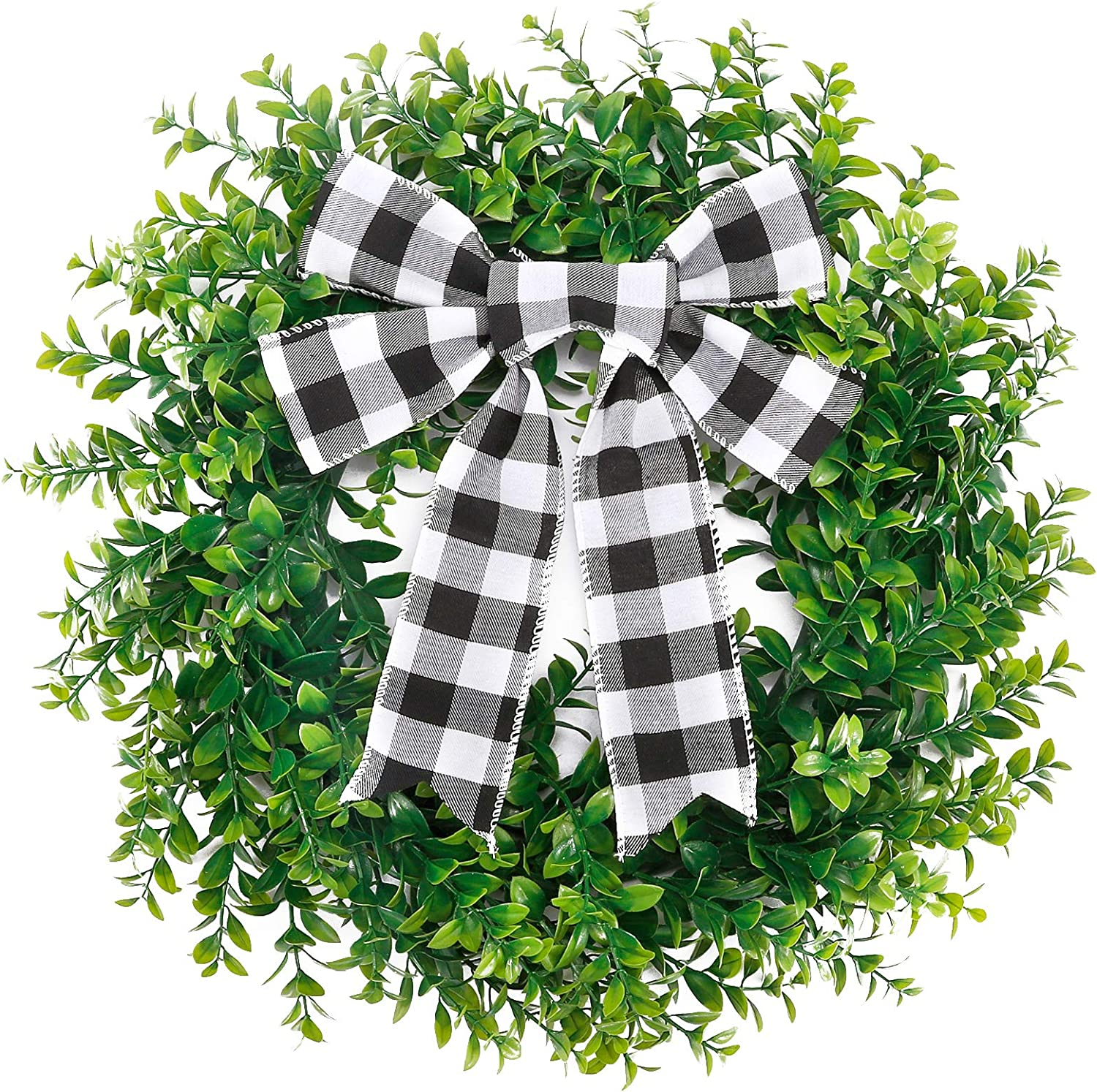 CEWOR 15 Inches Artificial Boxwood Wreath Spring Wreath Faux Green Leaves Greenery Wreath with A Plaid Bow for Front Door Wall Window Porch Farmhouse Patio Garden Decor