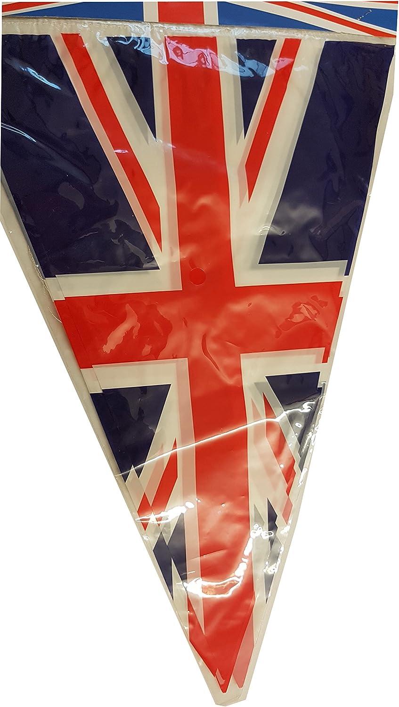 Union Jack Bunting - Juego de 6 Banderas Británicas del Reino Unido - para fiesta temática / Cumpleaños / Aniversario / Boda / Disfraces / Festival / Rojo blanco y azul / Decoraciones de Gran Bretaña: Amazon.es: Jardín