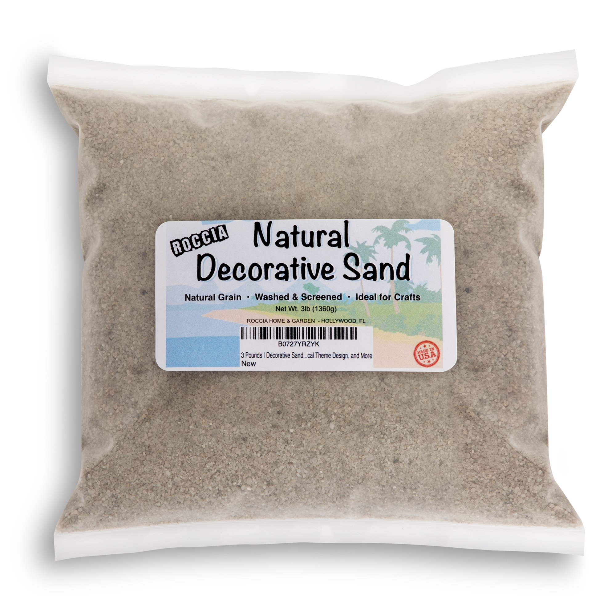 ROCCIA 3 Pounds | Real Sand | Natural Color | For Interior Decor, Vase Filler, Sand Crafts, Nautical Theme Design, and More