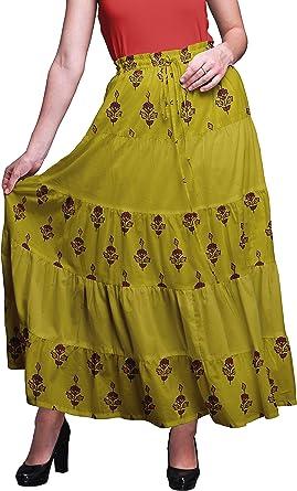 Bimba Faldas de algodón de 5 Niveles para Mujer Falda Larga de ...