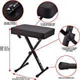 RockJam Xfinity Heavy-Duty, Double-X, Pre-Assembled, Infinitely Adjustable Piano Keyboard Stand with Locking Straps Keyboard Bench Black