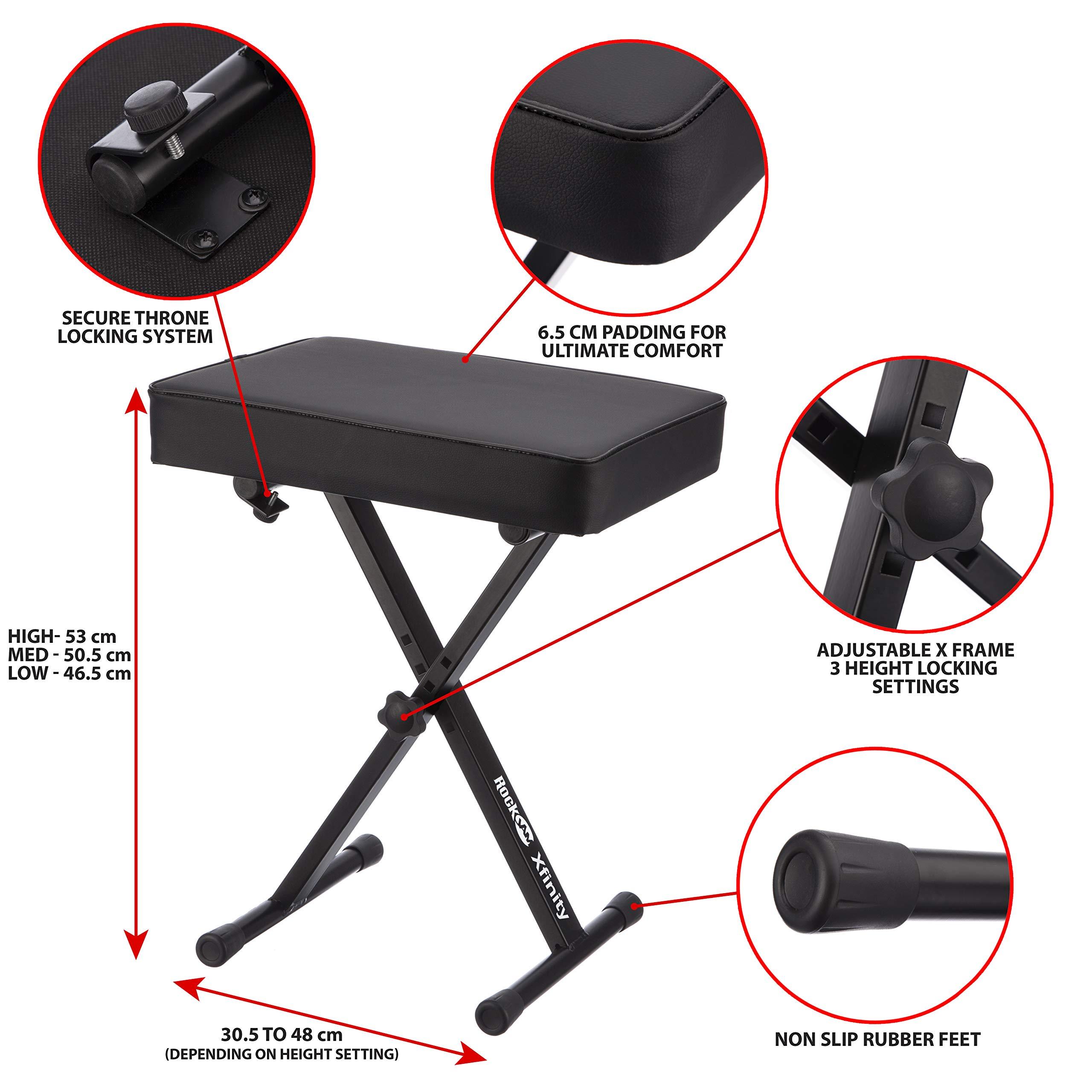 RockJam KB100 Adjustable Padded Keyboard Bench, X-Style, Black by RockJam