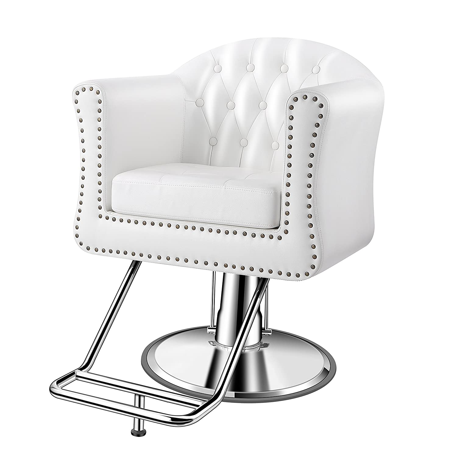 Baasha Luxury Classic White Styling Chair For Hair Salon, All Purpose  Square Salon Chair With Hydraulic