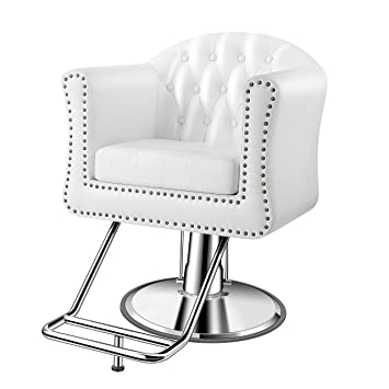 Terrific Baasha Luxury Classic White Styling Chair For Hair Salon All Purpose Square Salon Chair With Hydraulic Bralicious Painted Fabric Chair Ideas Braliciousco